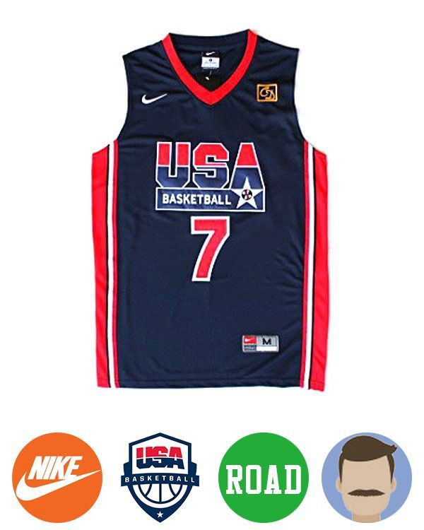 newest ed721 df142 larry bird 1992 usa dream team one #7 blue Jersey | NBA ...