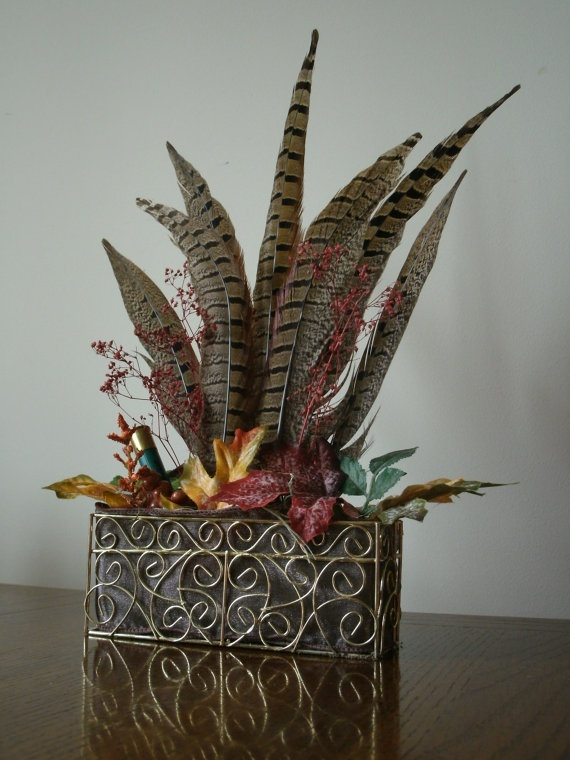$15.00 - Autumn Gold Arrangement - available from UplandCreations // decorative wire basket with real pheasant feathers, faux leaves and an empty shotshell