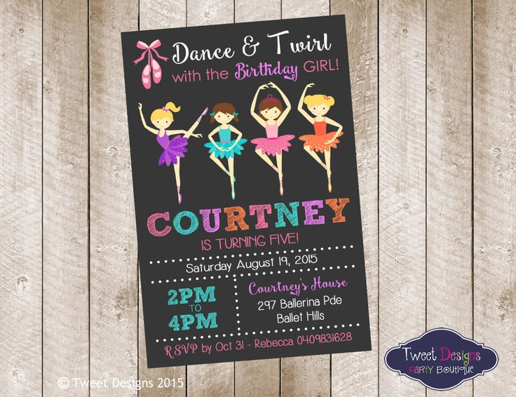 BALLERINA PARTY INVITATION, Printable Ballet Invitation, Ballet Girl Birthday Invitation, Ballet Printable Invite,  Girl Invitations, Ballet by TweetPartyBoutique on Etsy https://www.etsy.com/listing/239888237/ballerina-party-invitation-printable
