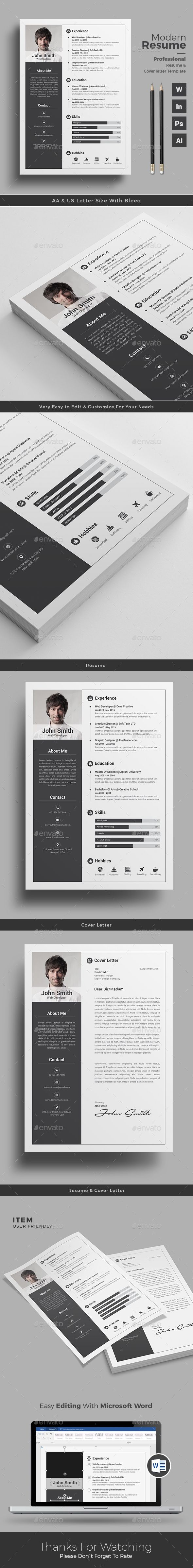 Infographic Resume by themedevisers Resume Word Template / CV Template with super clean and modern look. Clean Resume Template page designs are easy to use and custo
