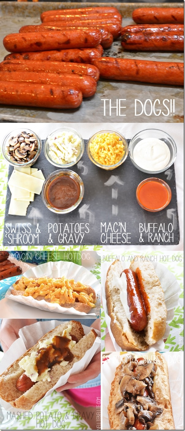 Hot Dog tasting party -fun idea for summer! I've wanted to do this for a while. I don't know about Mac n' cheese. Still need chilli and the regular stuff too.