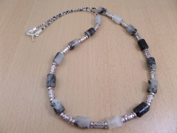 Black Quartz necklace Black rutilated Quartz with by AllthingsBAB, £22.00