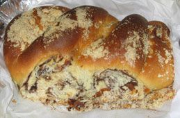 Babka:  A yeasted dough cake with a sweet filling marbled throughout.  Babkas are eaten all year round and are most often found at a Shabbos meal.  #Christmas #Hanukkah #Chrismukkah