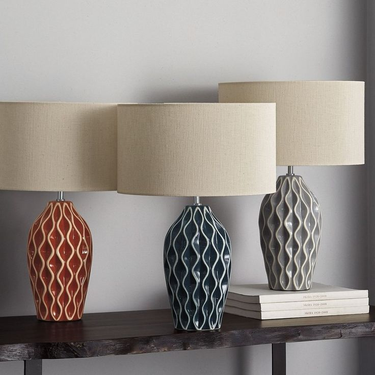 From the company store · olivia ceramic lamp think texture showcasing rows of dimensional unglazed waves the