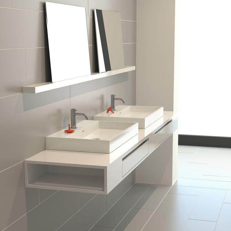 Badkamer wastafel dubbel - Meubilair vormgeving van de badkamer dubbele wastafel ...