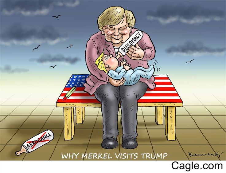 Merkel Feeds Trump by cartoonist Marian Kamensky published on 2017-03-17 18:45:22 at Cagle.com. Marian Kamensky is the editorial cartoonist for the switzerland satirical montly magazine Nebelspalte…