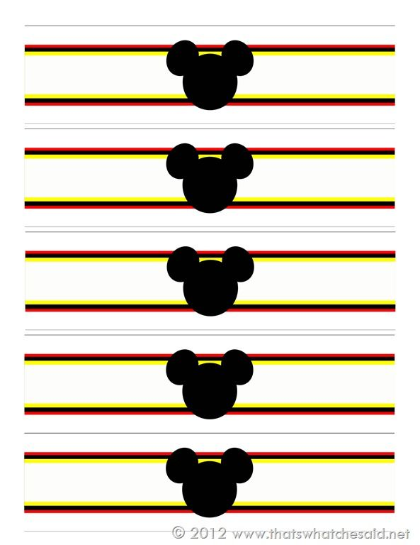 FREE Printable Mickey Mouse Water Bottle Wrappers!!
