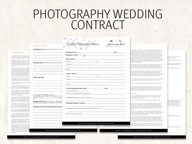 11 Best Wedding Photography Contract Template Images On Pinterest