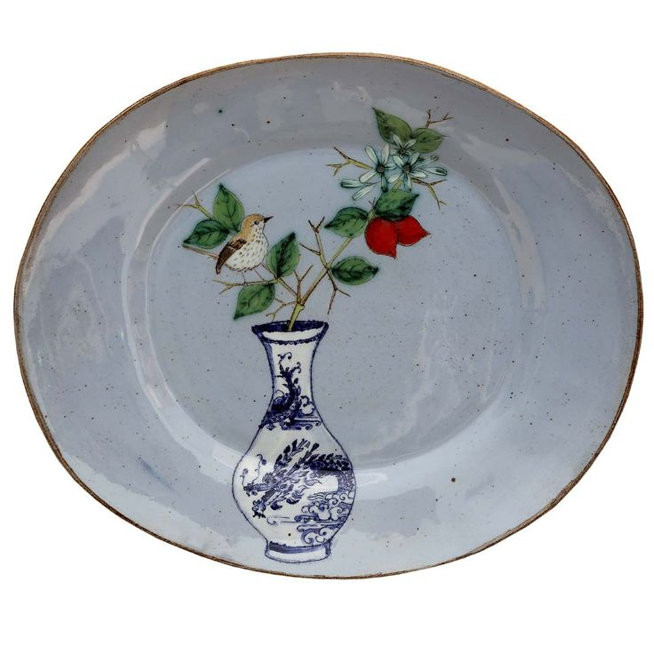 An original ceramic work by Lisa Ringwood entitled: 'Prinia and Num-num branch (blue oval platter)