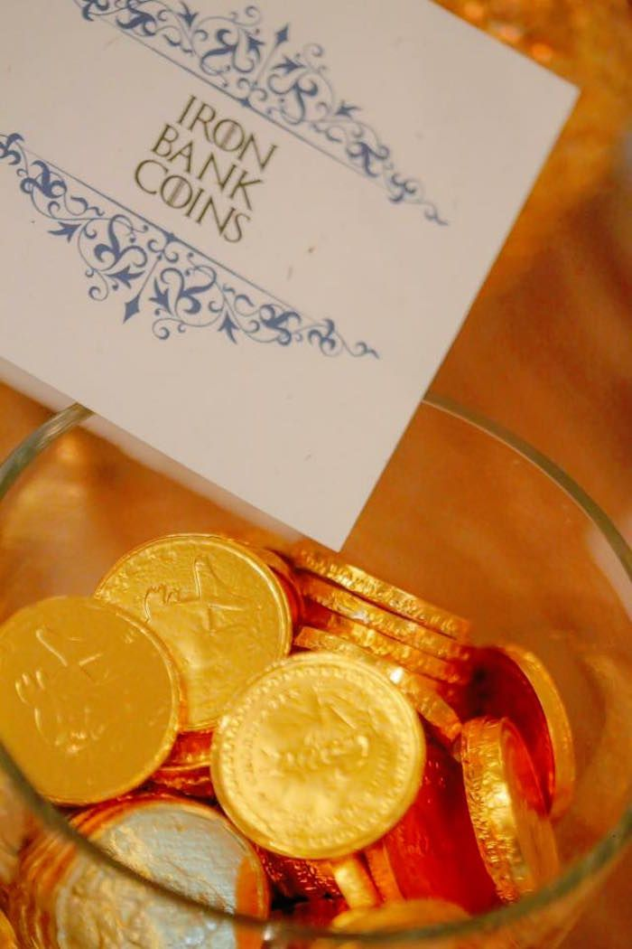Iron Bank Chocolate Coins from a Game of Thrones Birthday Party via Kara's Party Ideas | KarasPartyIdeas.com (4)