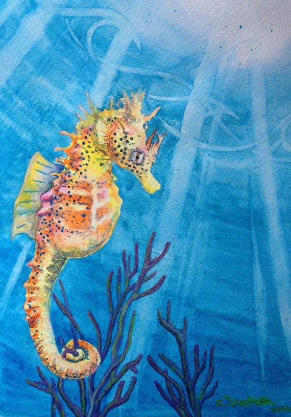 """Sea Horse """"Sea Freckles""""  yellow Hawaiian Sea Horse Painting ART Print Matted and Framed and Ready to Hang on Etsy, $65.00"""