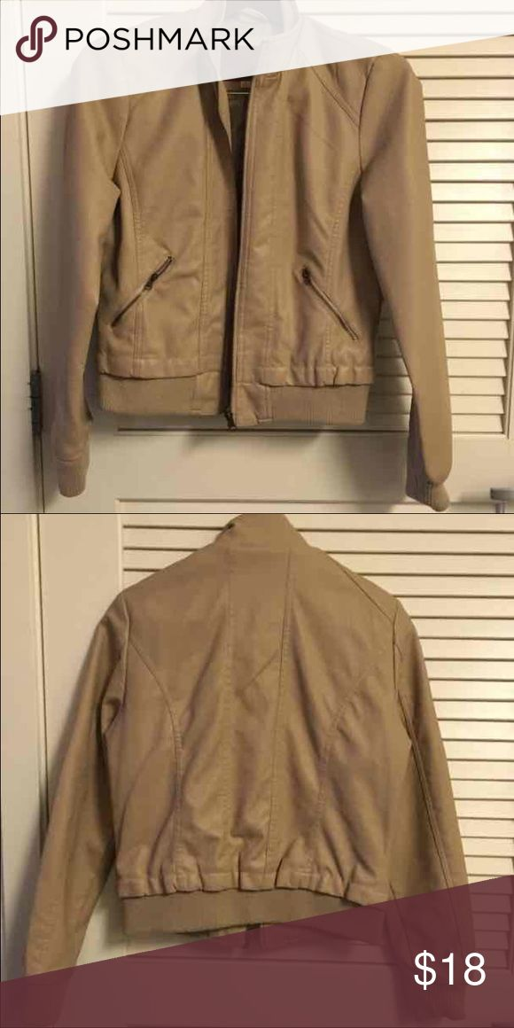 Faux Tan Leather Jacket ~Faux Leather ~Tan ~Juniors Medium ~Great condition Jackets & Coats
