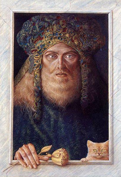 "HERNAN VALDOVINOS REALISMO MAGICO ""ASTROZEL"" (god of self-knowledge) oil on wood 70 x 50cm"