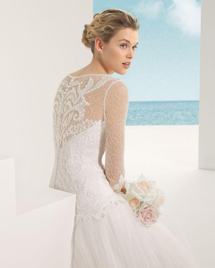 Robe de mariée, manches longues robe en dentelle et tulle de soie - Vilma - Rosa Clará
