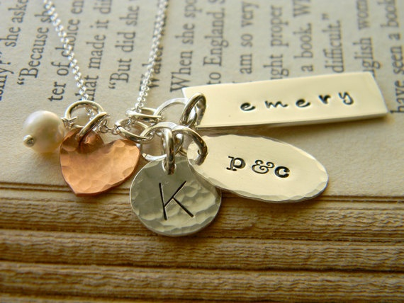 Hand Stamped Family Conversation Necklace by TheSilverBoutique, $59.00