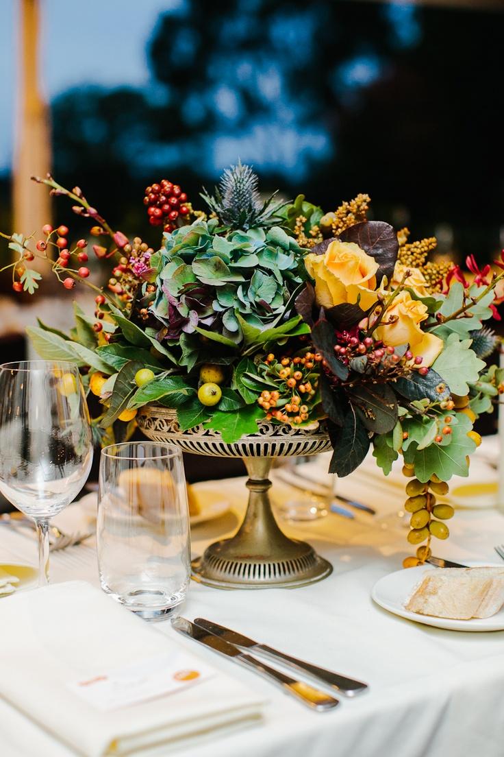 Autumn Renaissance centrepiece, Flowers By Brooke Beechworth