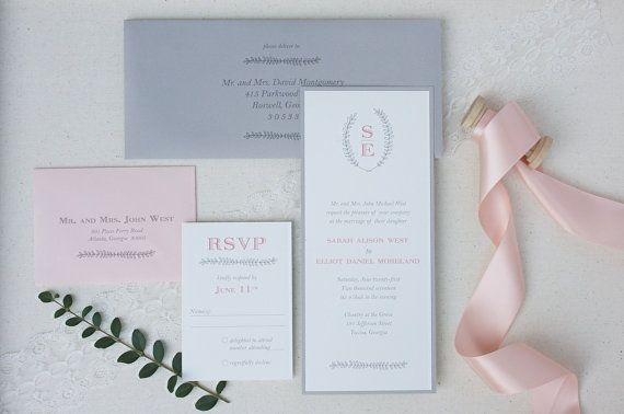 beautiful and classic wedding invitation - pink monogram wedding invitation suite by TigerLilyInvitations