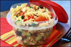 MediterraneYUM Pasta Salad - 8pp (2 servings)                                                                  1/2 of recipe (about 2 1/4 cups): 315 calories, 5g fat, 746mg sodium, 45g carbs, 5g fiber, 10g sugars, 23.5g protein -- PointsPlus® value 8*