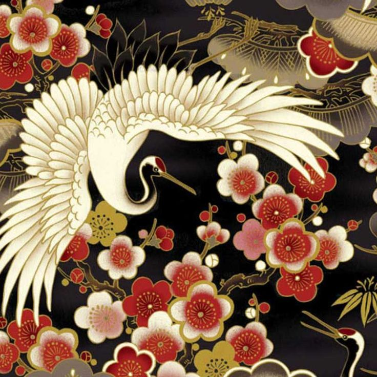 Black Flying Crane with Spread Wings, latest                                        Japanese fabric
