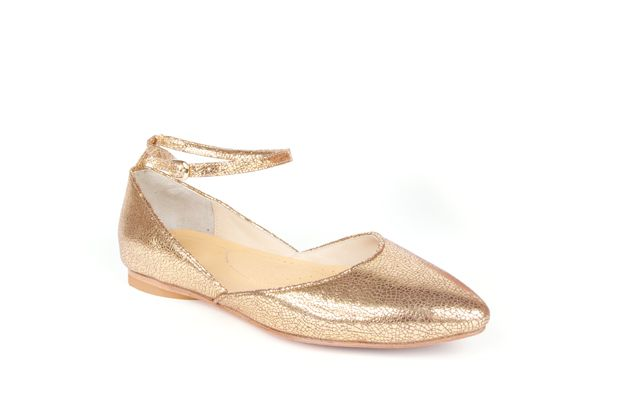 The Modern Mary-Jane by Poppy Barley Made to Measure in Metallic Gold. #Customize your leather colours and hardware. #Handcrafted to your measurements. #Flats #BalletFlats poppybarley.com