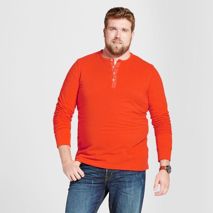 Men's Big & Tall Standard Fit Long Sleeve Micro-Waffle Henley Shirt - Goodfellow & Co Orange 3XBT