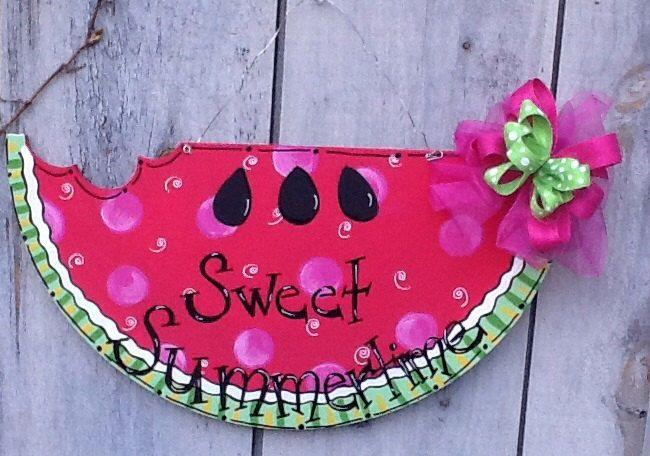 Watermelon sweet summer, welcome summer door hanger, watermelon door hanger, summer door hanger, summer sign, watermelon sign, summer decor by Angelascreativecraft on Etsy https://www.etsy.com/listing/508532177/watermelon-sweet-summer-welcome-summer