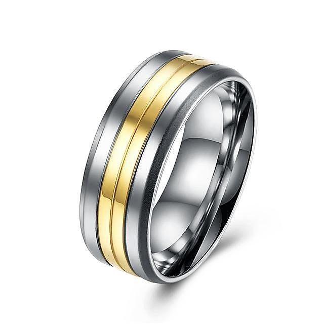 Titanium Steel 316L Damen Ring+Bicolor+Gr 61 (19,4 mm Ø)+6,6 g+Neu