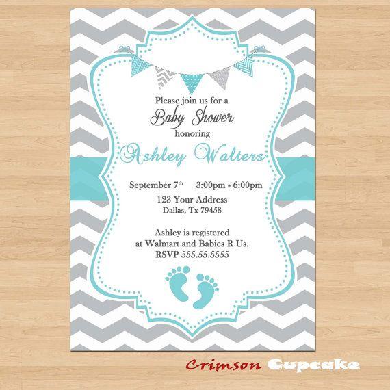 Printable Baby Shower Blue Grey Chevron Invitations Boy Gray Invite