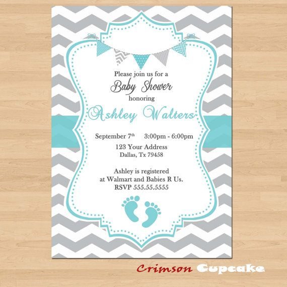 Printable Baby Shower Blue Grey Chevron Birthday Party