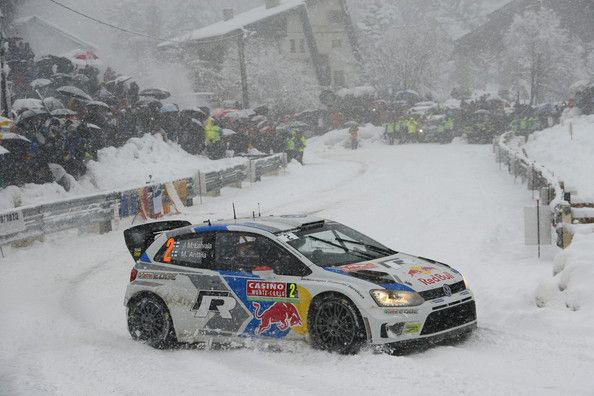 Jari Matti Latvala of Finland and Mikka Anttila of Finland compete in their Volkswagen Motorsport Polo R WRC during Day Three of the WRC Mon...