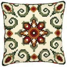 Aztec Green Geometric - Vervaco Canvas - Tapestry Cushion Kit - 1200652