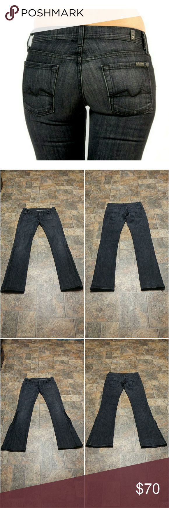 """7 for all mankind Flare 7 for all mankind size 27 and 35"""" unaltered inseam (hard to find) straight leg with side zippers to convert to flare. The flare in Port Lions, famous black squiggle line on back pockets. In great preowned condition. Waist flat is 15 1/2"""" and rise is 7 1/2"""" 7 For All Mankind Jeans Flare & Wide Leg"""
