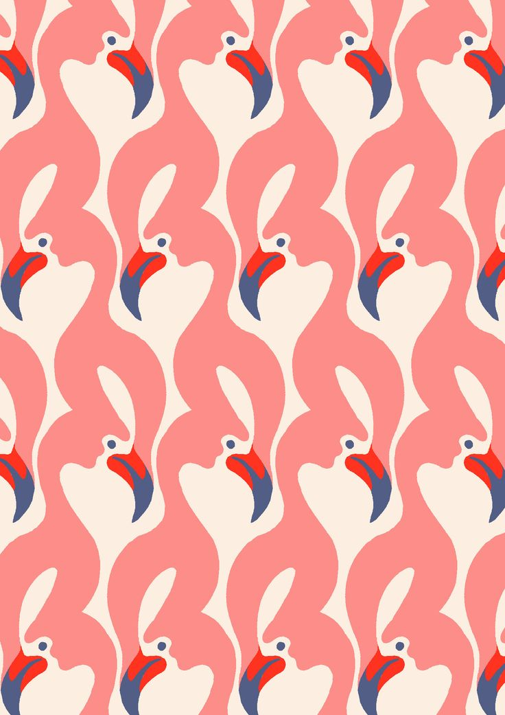 pattern by Minakani #flamingos #beak #wings #ripple #minakani