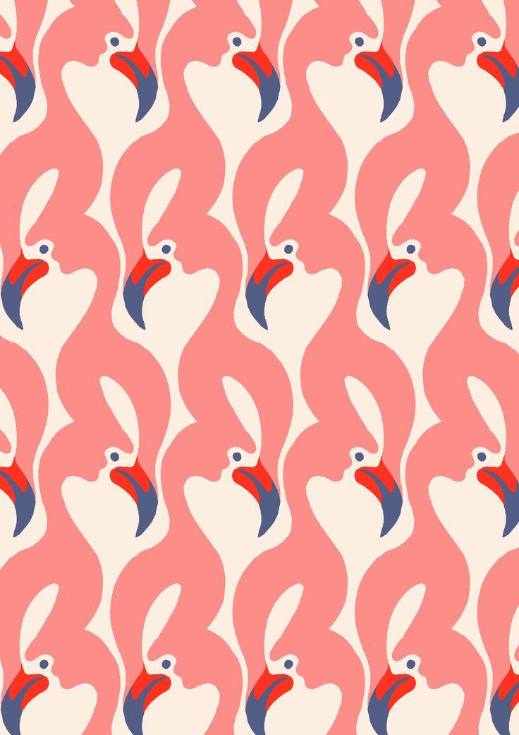 pattern by Minakani #flamingos #beak #wings #ripple #minakani