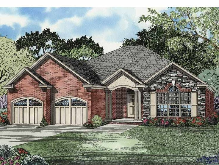 floor plan aflfpw12769 1 story home design with 3 brs and 2 baths french country - 1 Story French Country House Plans