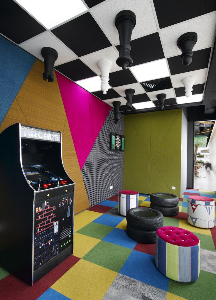 game room google 39 s kuala lumpur offices arcade video games chess board ceiling gaming