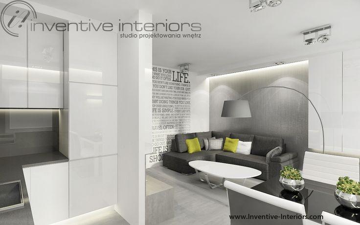 Projekt salonu z aneksem Inventive Interiors - Biało szary salon z minimalistyczną kuchnią