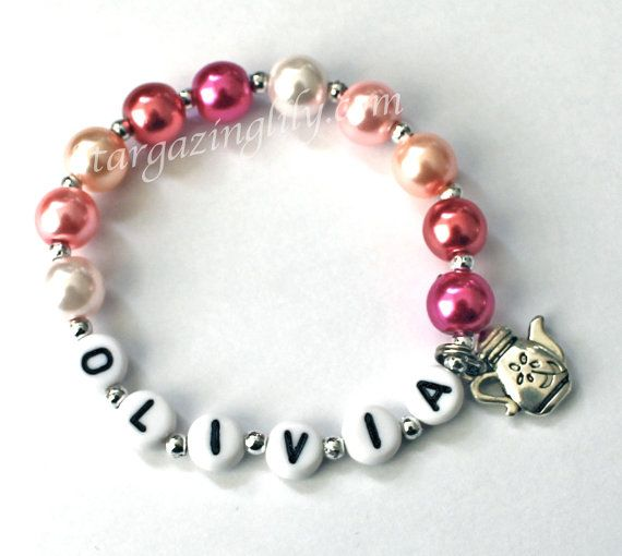 Tea Party Favor Little Princess Teapot Tea Pot Charm Bracelet Personalized Pretty in Pink Pearls YOU CHOOSE CHARM