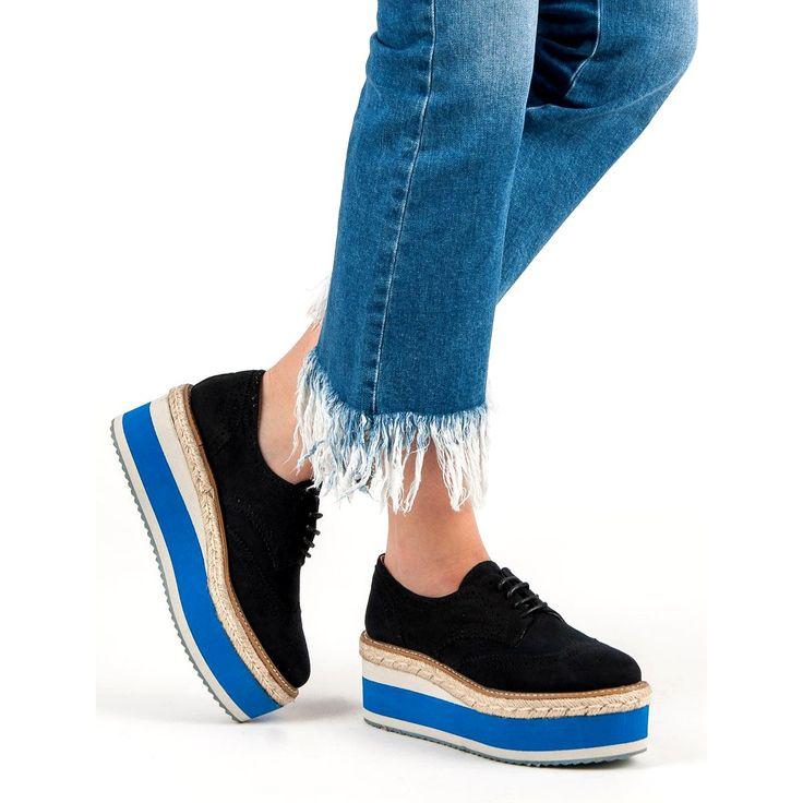 Corina Polbuty Na Koturnie Fashion Czarne Sandales