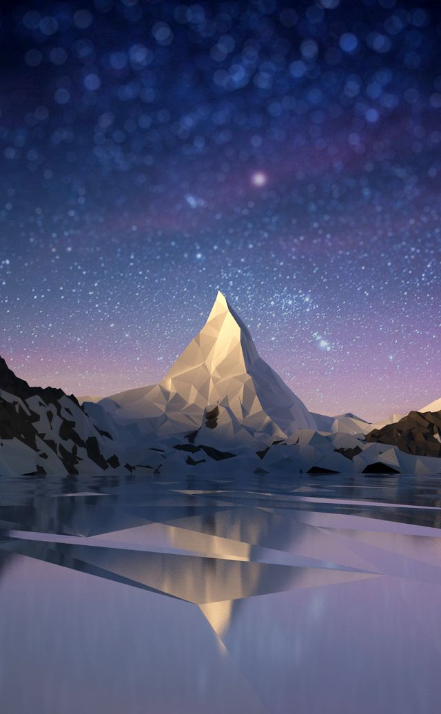 Mountain in low-poly, great composition all together perfect blend to create one well rounded landscape