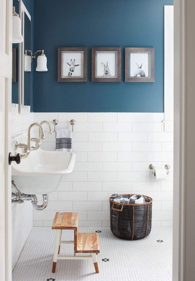 BECKI OWENS--Colors of the Modern Farmhouse + Paint Guide. Beautiful blue Farmhouse bathroom.