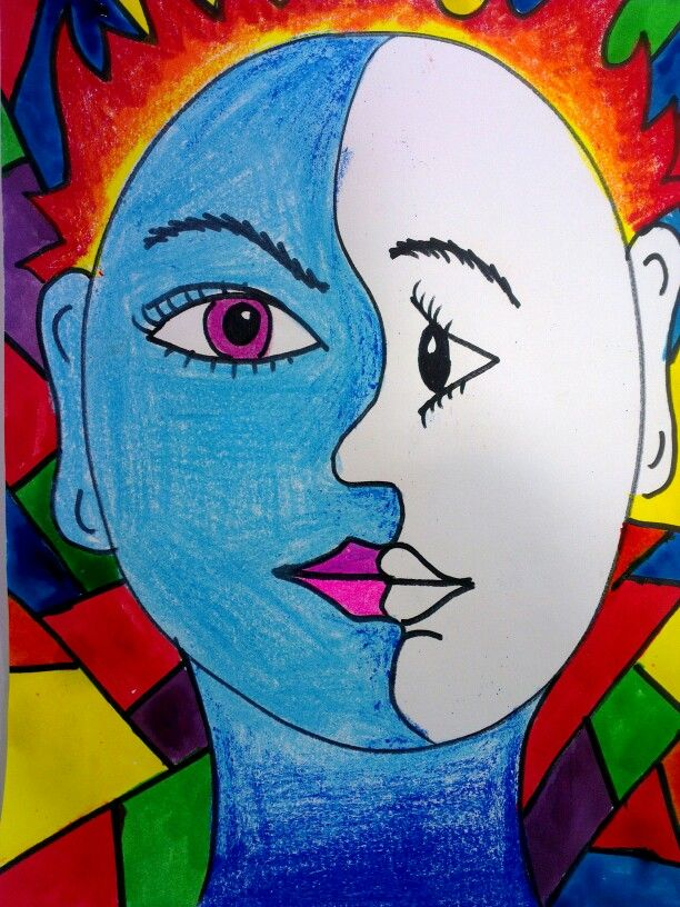 Picasso Faces - cubism shows multiple perspectives simultaneously (profile + portrait)