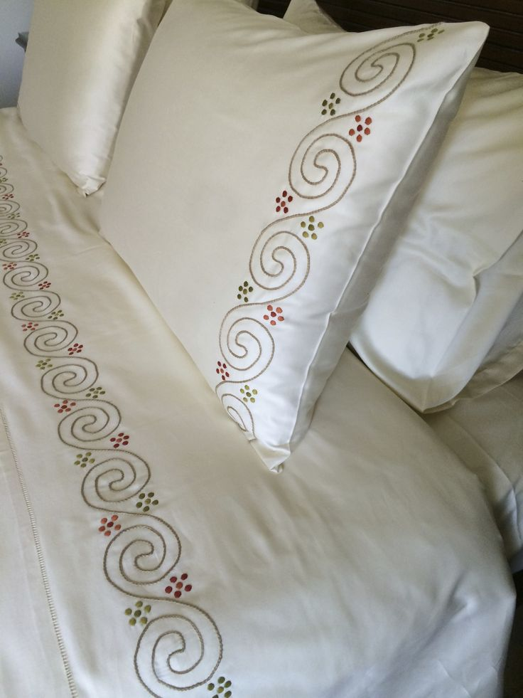 Hand embroidered Bed Linens and terry custom made for the Four seasons Baltimore Royal and presidential suite by Al Haramlek