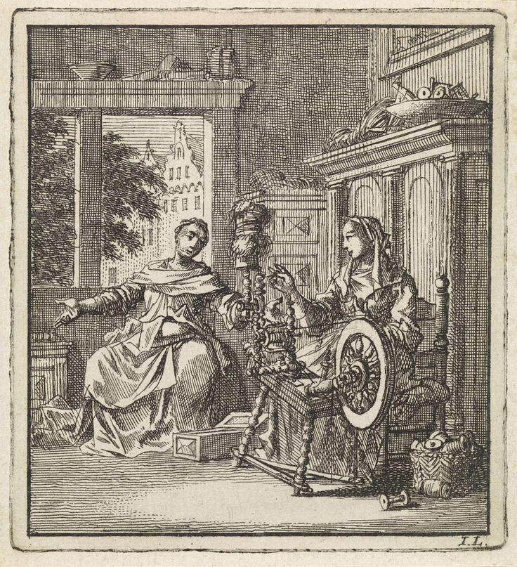 Jan Luyken   Vrouw spint een draad en voert een gesprek met een andere vrouw, Jan Luyken, wed. Pieter Arentsz & Cornelis van der Sys (II), 1711  