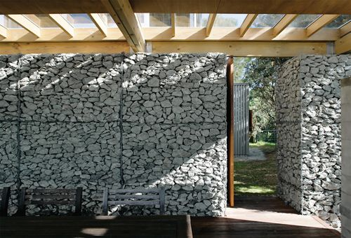 Diy - Homemade Gabion Wall Ie Rocks Encased In Wire Baskets And