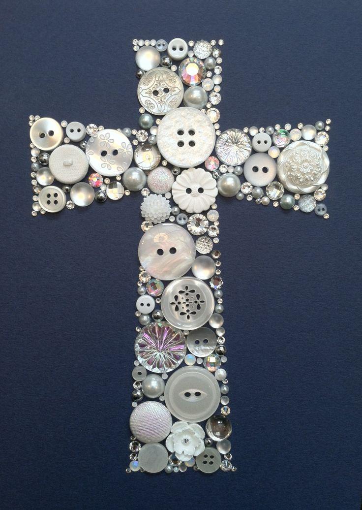 Cross button art: first communion gift idea