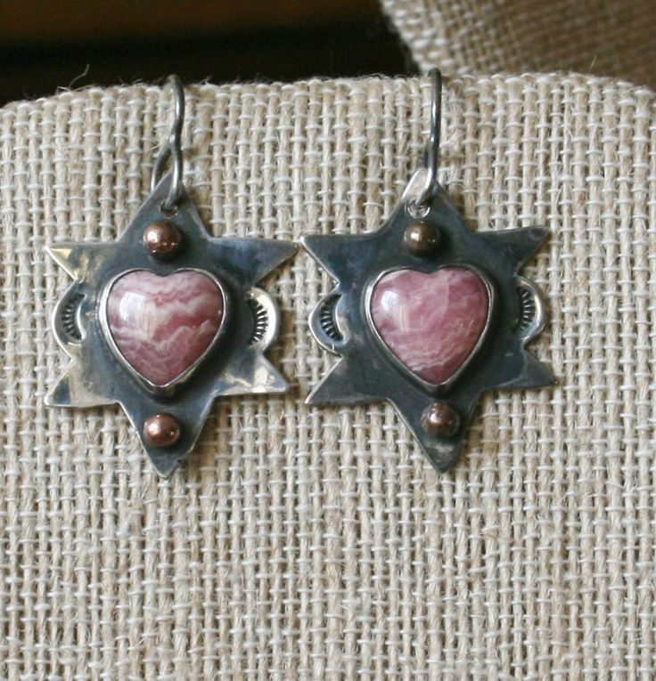 Navajo Pawn Rhodochrosite Heart Earrings by Anthony Skeet  plus Free USA Shipping! by Route66Diner on Etsy
