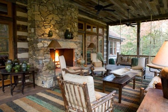 exterior: Interesting Style Of Rustic Front Porches With Good Furniture Of Natural Stone Fireplace Idea Also Wooden Table Plus Chairs With Soft Seat And Back - Adorable Rustic Front Porches for Relaxing Lounge Space, Luxury Busla: Home Decorating Ideas and Interior Design