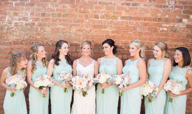 Mint David's Bridal Bridesmaid Dresses with Lace Illusion Neckline | Amber Hatley Photography https://www.theknot.com/marketplace/amber-hatley-photography-watkinsville-ga-870312