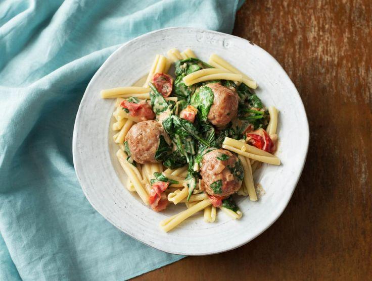Caserecce integrale met kipgehaktballetjes en groenten
